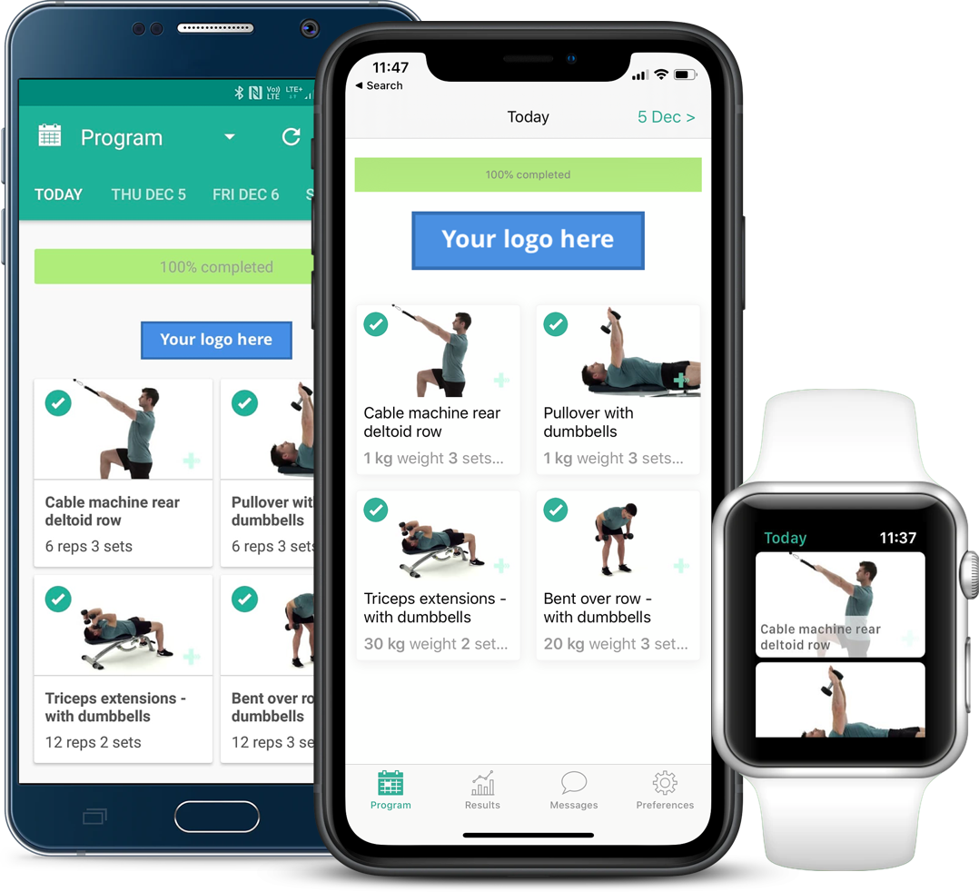 PhysiApp on Android, iOS and Apple Watch
