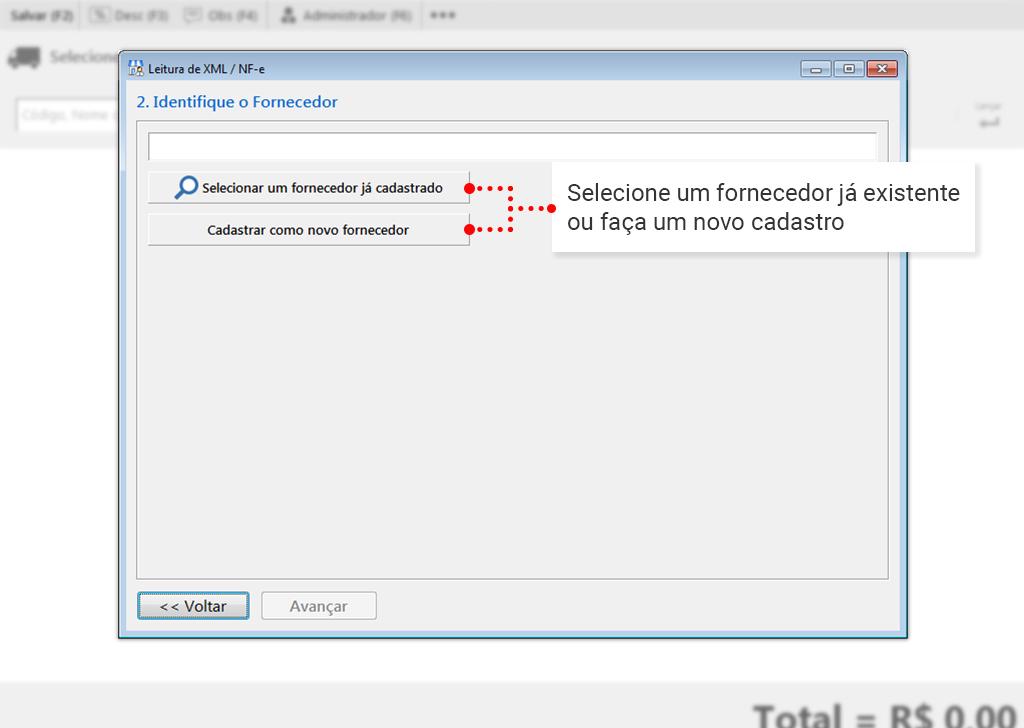 Como fazer entrada via XML: Selecione o Fornecedor
