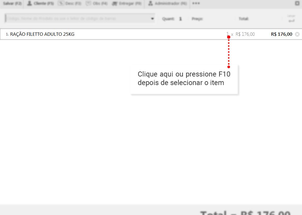 Desconto por item: Edite o item cliccando na quantidade ou apertando F10