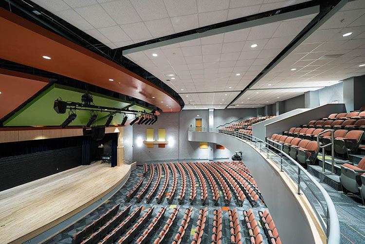 M&E's work in River City Middle School's auditorium