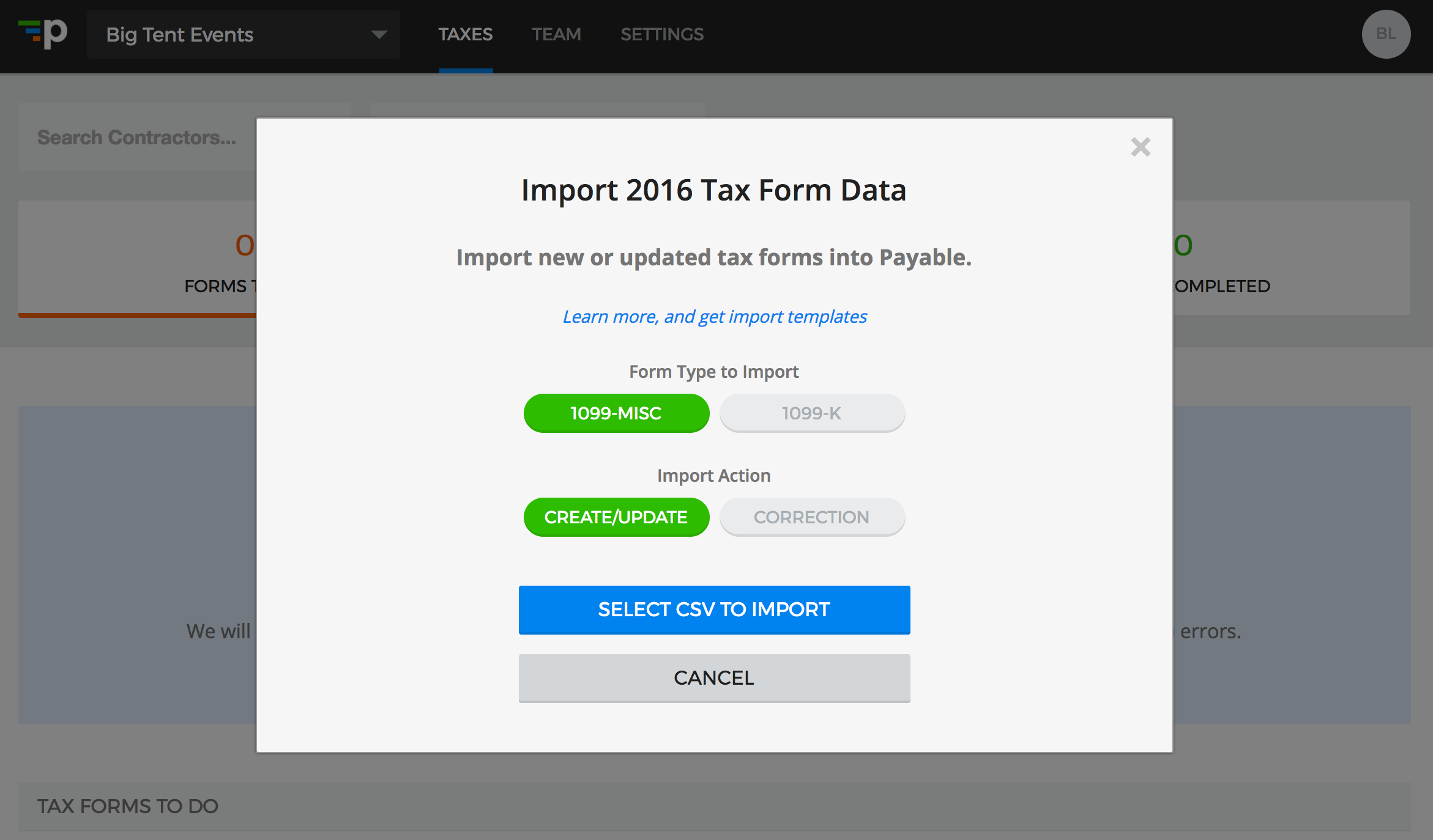 Importing Your Tax Forms CSV Into Payable