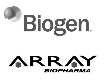 Biogen Logo and Array BioPharma Logo