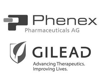 Phenex Pharmaceuticals Logo and Gilead Sciences Logo