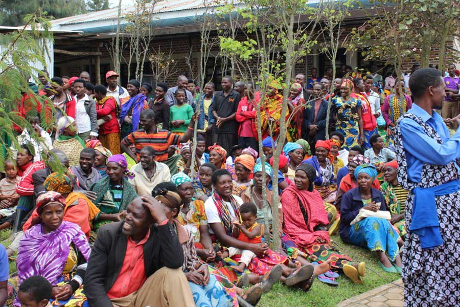 People gather for the groundbreaking of the Butaro Cancer Patient Support Center in Rwanda.