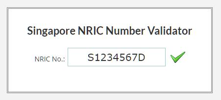 Nric Validator Singapore Validator Singapore Nric Singapore Nric