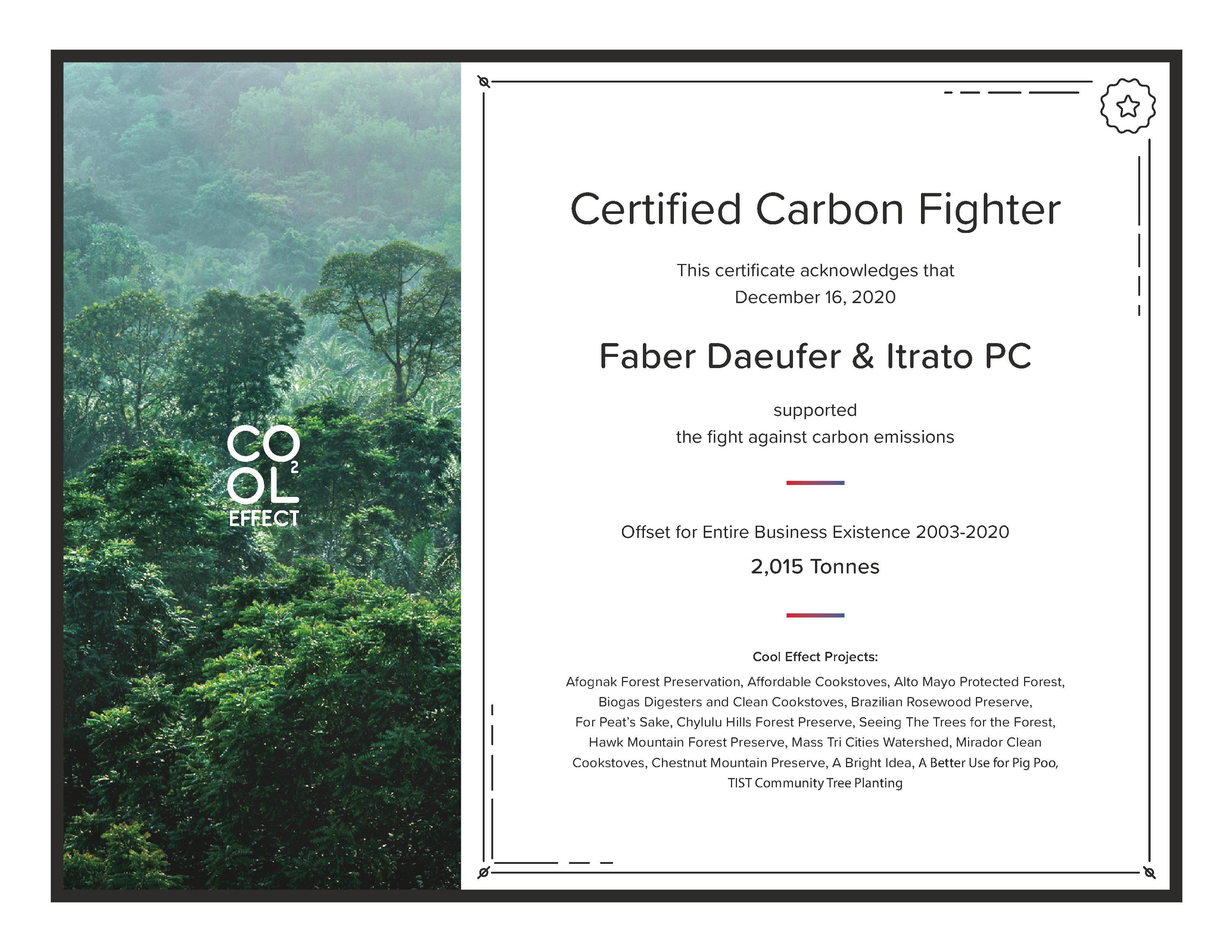 Faber's 2020 Certificate