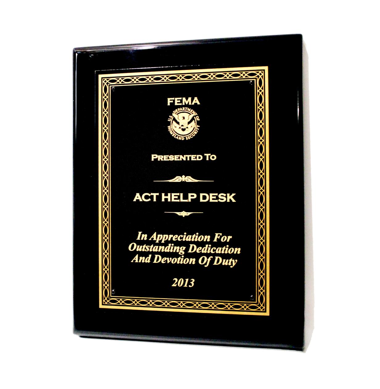 ACT - 2013 FEMA Help Desk Award Winner