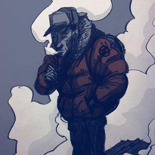 'Smoke Break During Winter' art print by Christian Gilbang