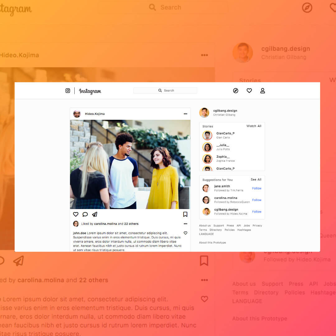 Image of Instagram Prototype by Christian Gilbang