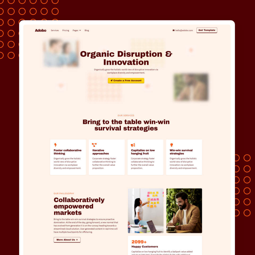 Image of Adobo a free cloneable marketing landing page by Christian Gilbang