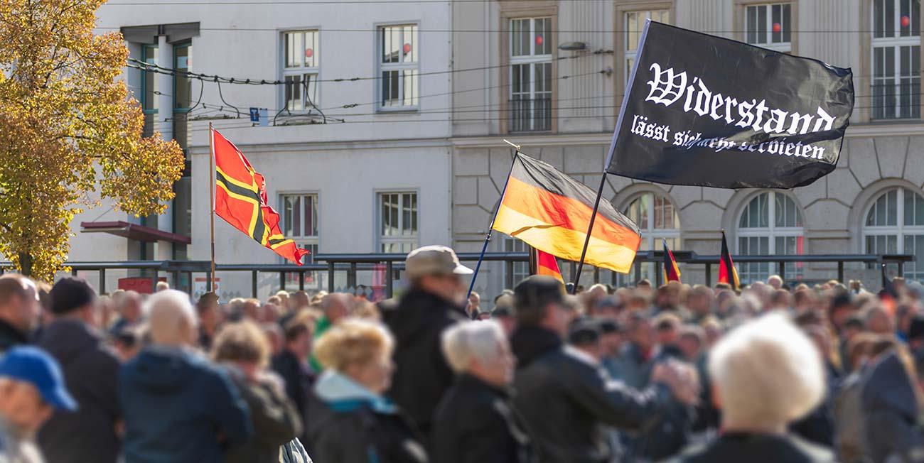 Bild – Menschenmasse in Deutschland, die Widerstandsflagge schwenkend.