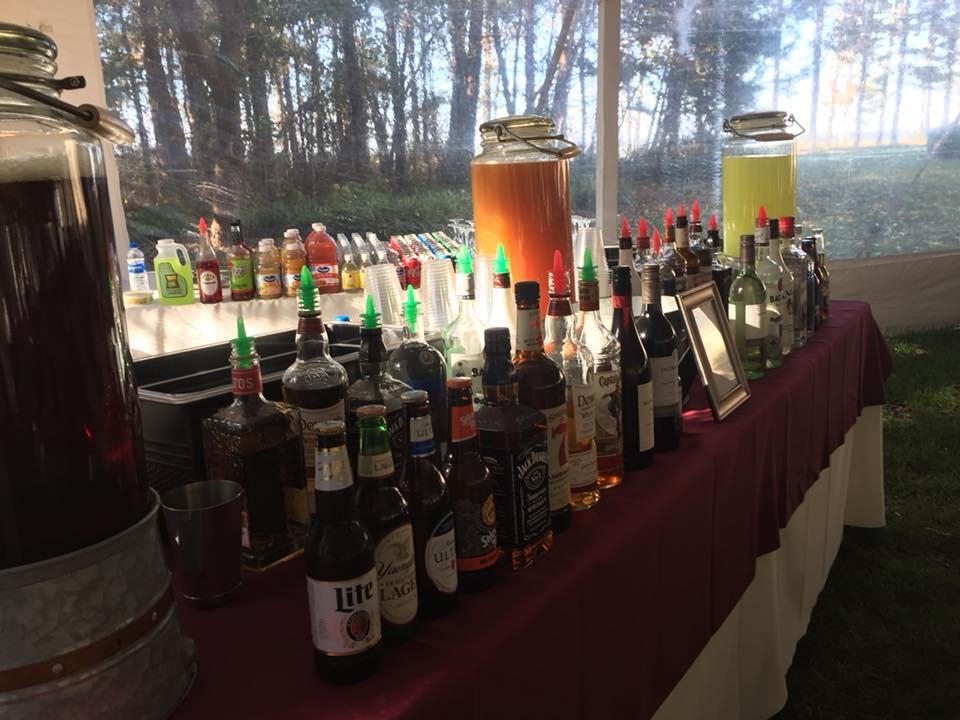 variety of drinks at a bar