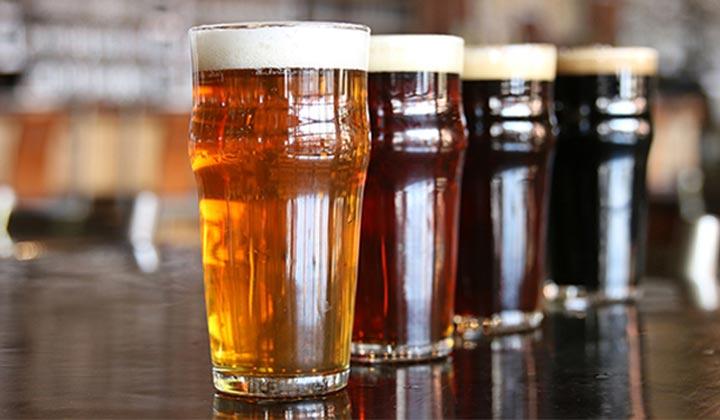 Verres de bières de différents styles