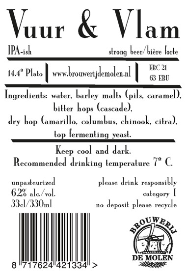 L'étiquette facilement reconnaissable de la brasserie De Molen