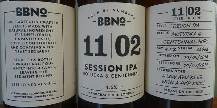 Bière de la brasserie Brew By Numbers et son étiquette