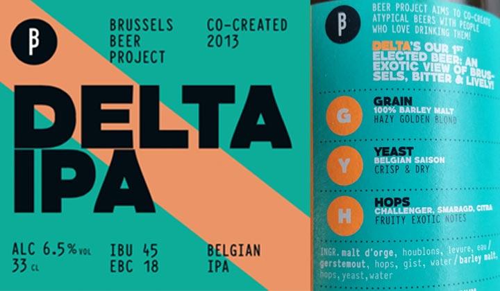 L'étiquette de la bière Delta IPA de la brasserie Brussels Beer Project