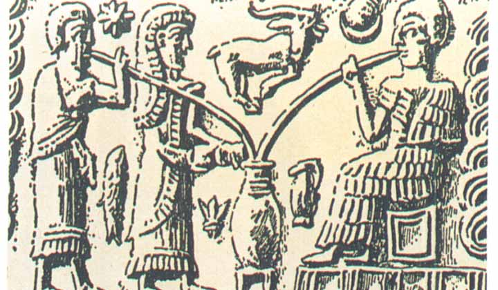Dégustation de bière dans un amphore en Mésopotamie
