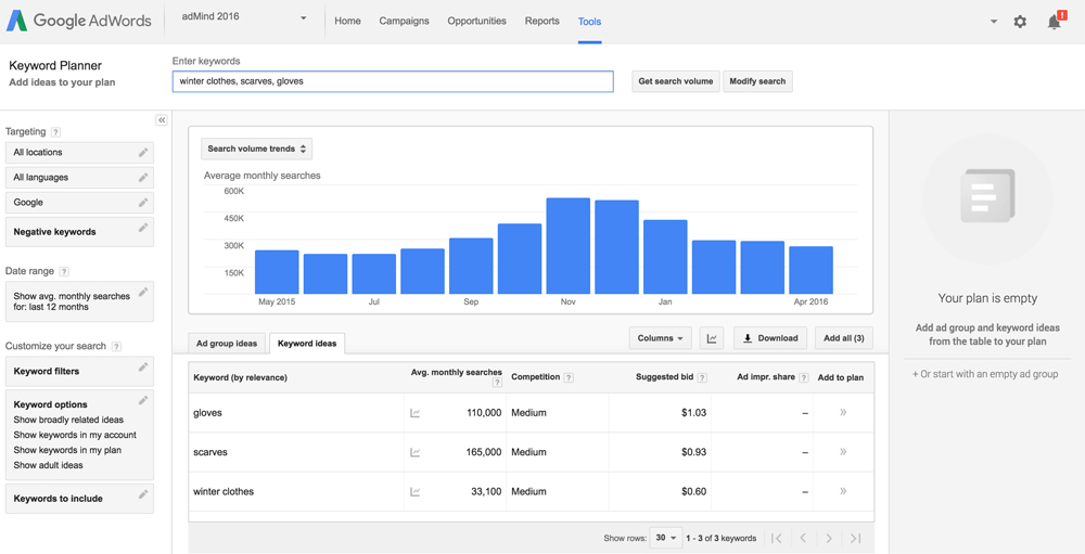 Find out how much traffic your keywords will get in AdWords.