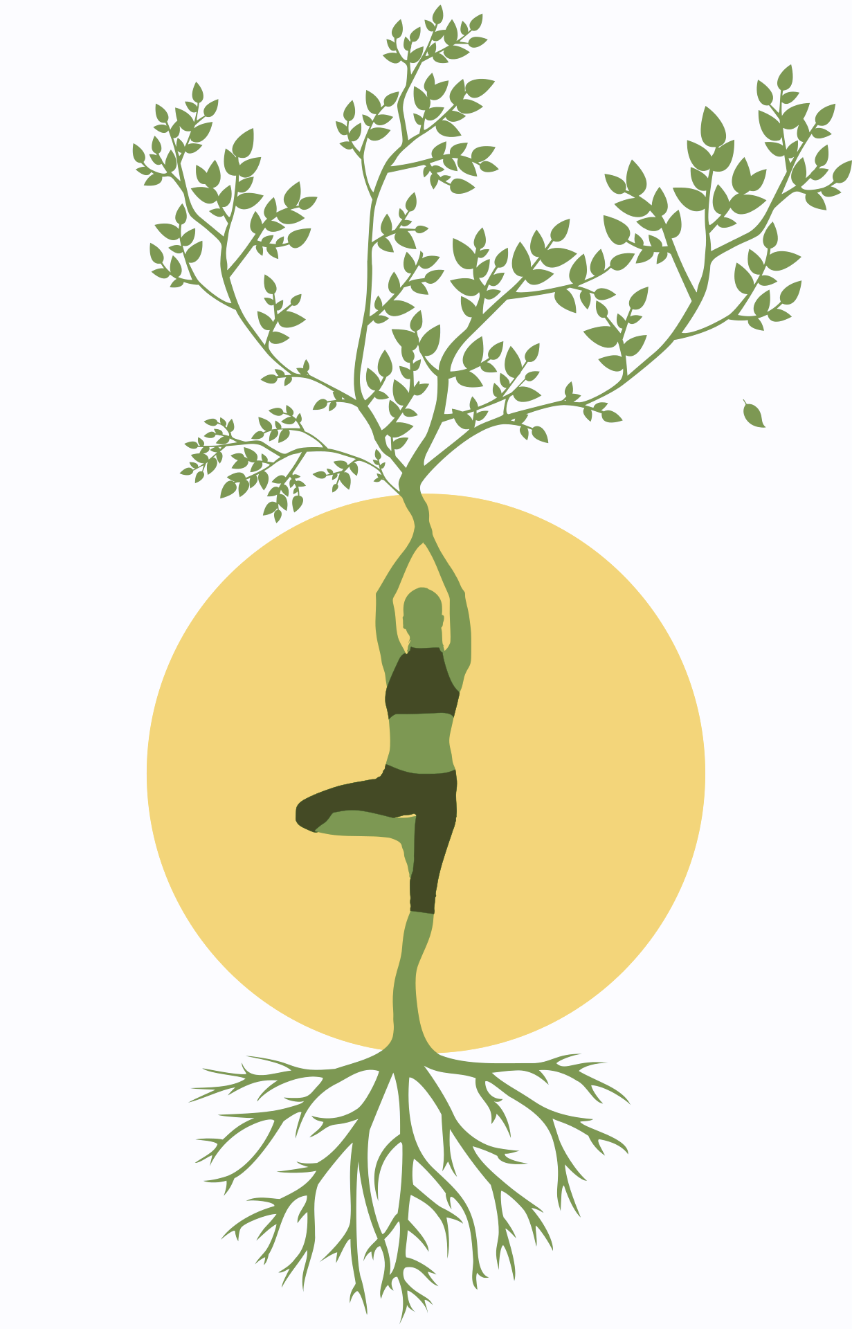 woman with roots for legs and branches for arms, to represent root chakra