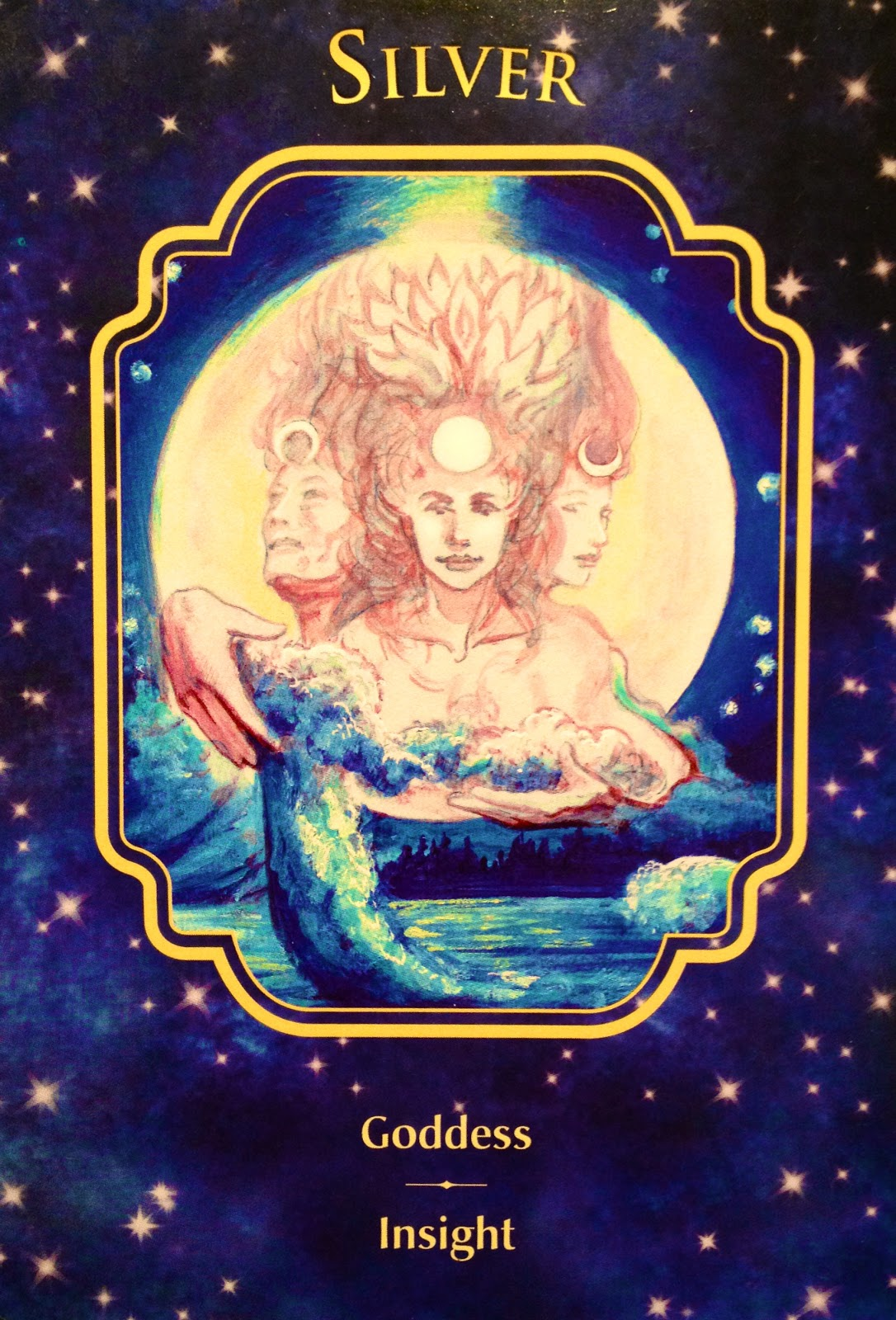 Silver Goddess Card Illustration  of three women representing the moon faces and tide