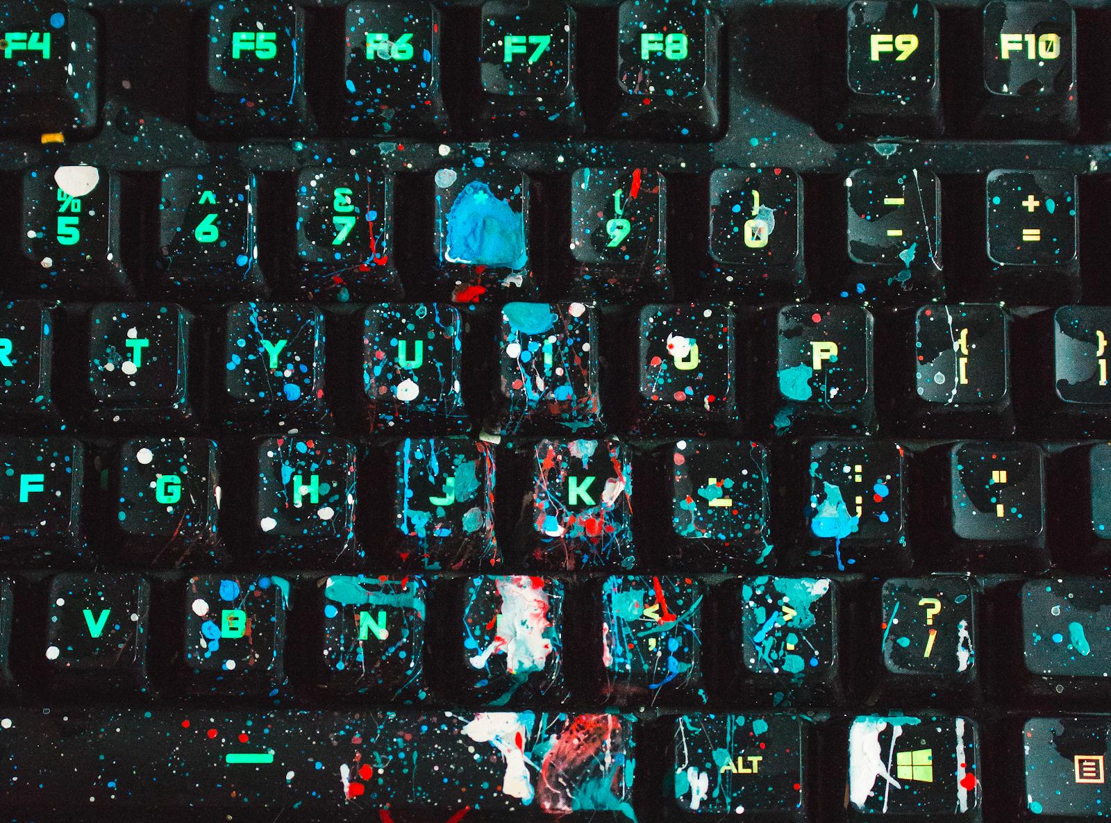 Image of splatter painted keyboard.