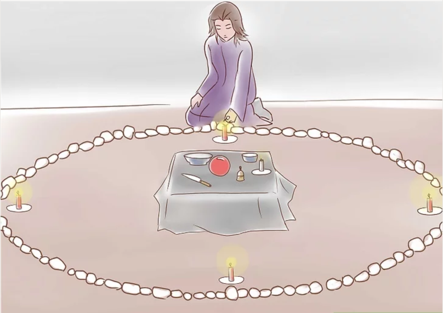 Illustration of woman at top of circle of stones with four candles burning at each of the four directions with altar in the center