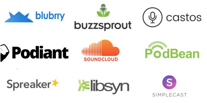 A white screen with the names and logos of the podcast sites Blubrry, Podiant, Spreaker, Buzzsprout, Soundcloud, Libsyn, castos, PodBean, and Simplecast