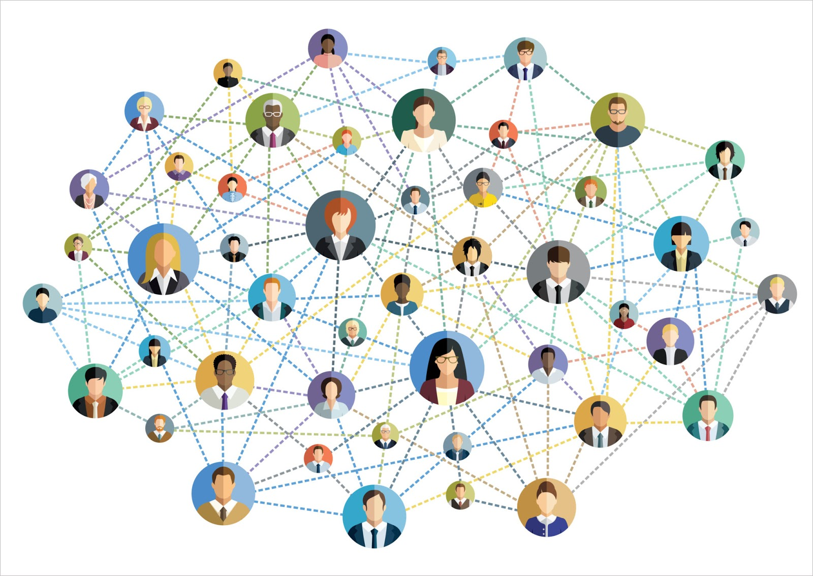 A graphic design of faceless people in a web of a network.