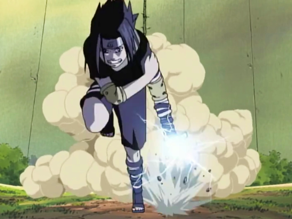 A young boy with black hair sprinting holding his shoulder while a ball of lightning sparks in his arm.