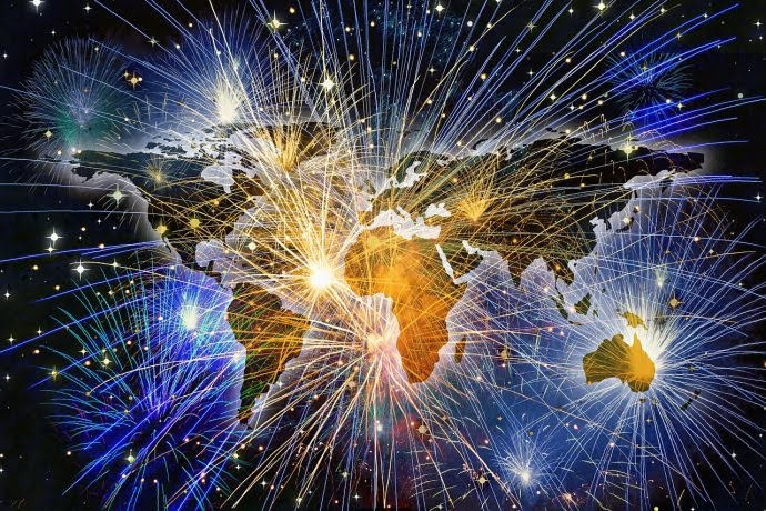 image of the Globe with fireworks exploding over it