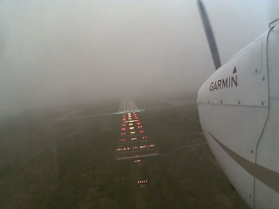 Photo of an airplane flying in IRF conditions