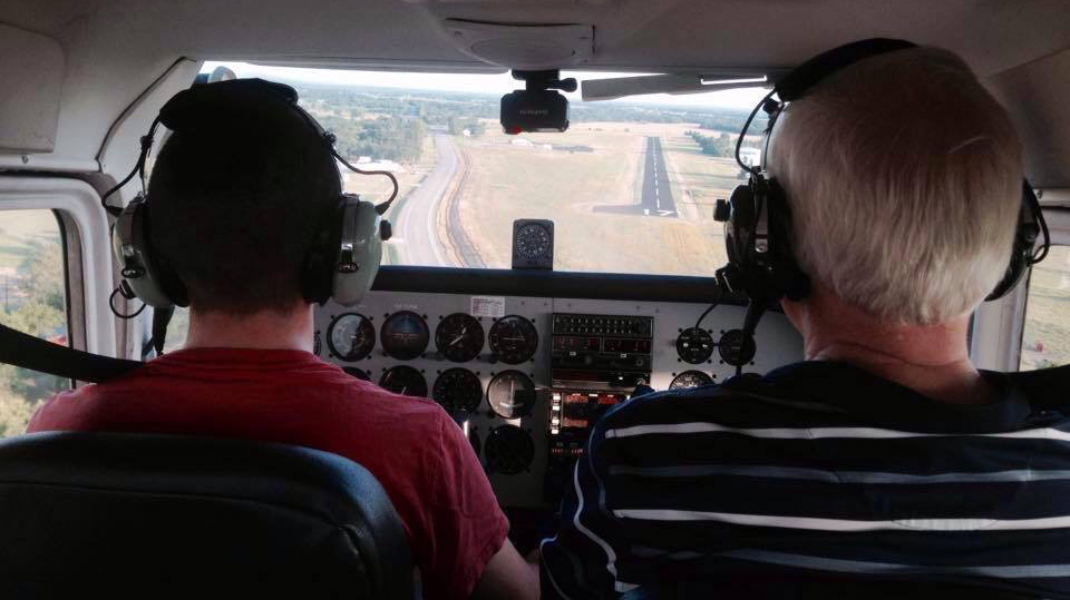 Photo of a Code 1 Flight Training flight student in a Cessna 172 cockpit