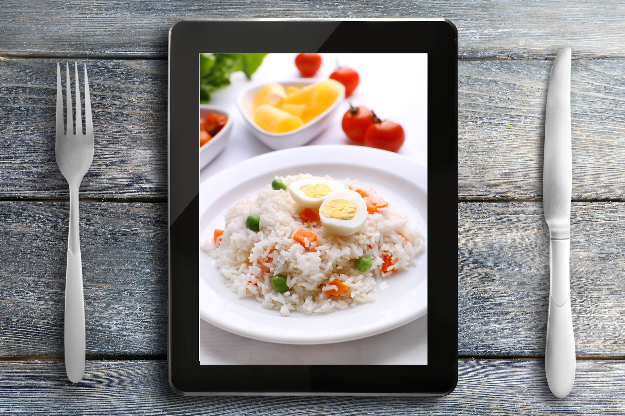 Picture of a rice dish on a tablet