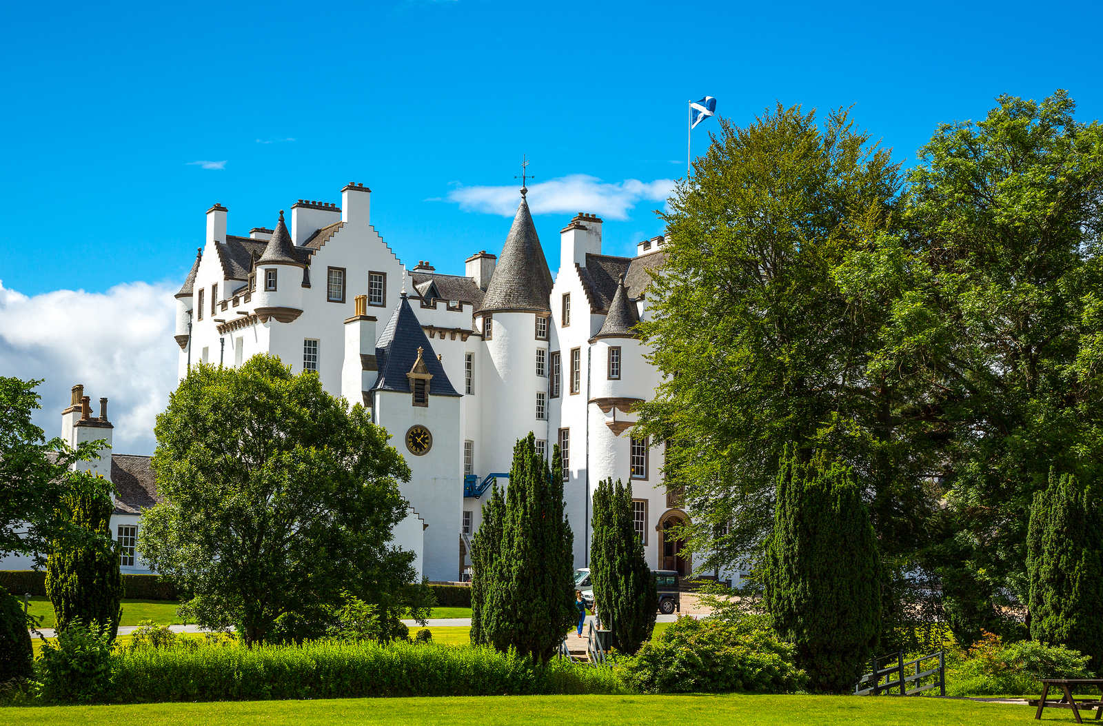 Stop by Blair Castle, Scotland, with its historical artefacts and fabulous rooms.