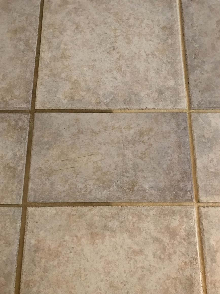 Before and after tile and grout project
