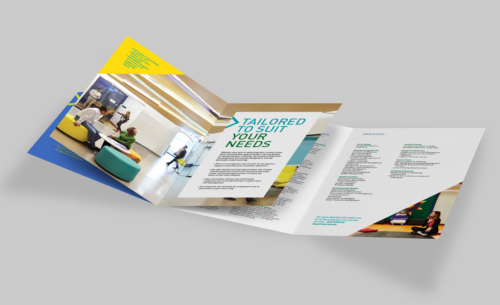 open brochure with nice graphics