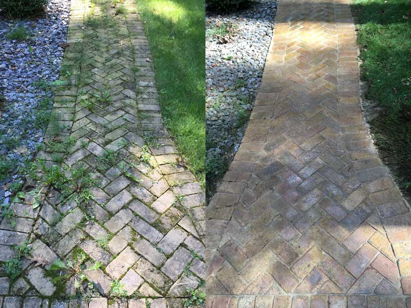 Walkway cleaning performed by Badgerland Pressure Cleaning