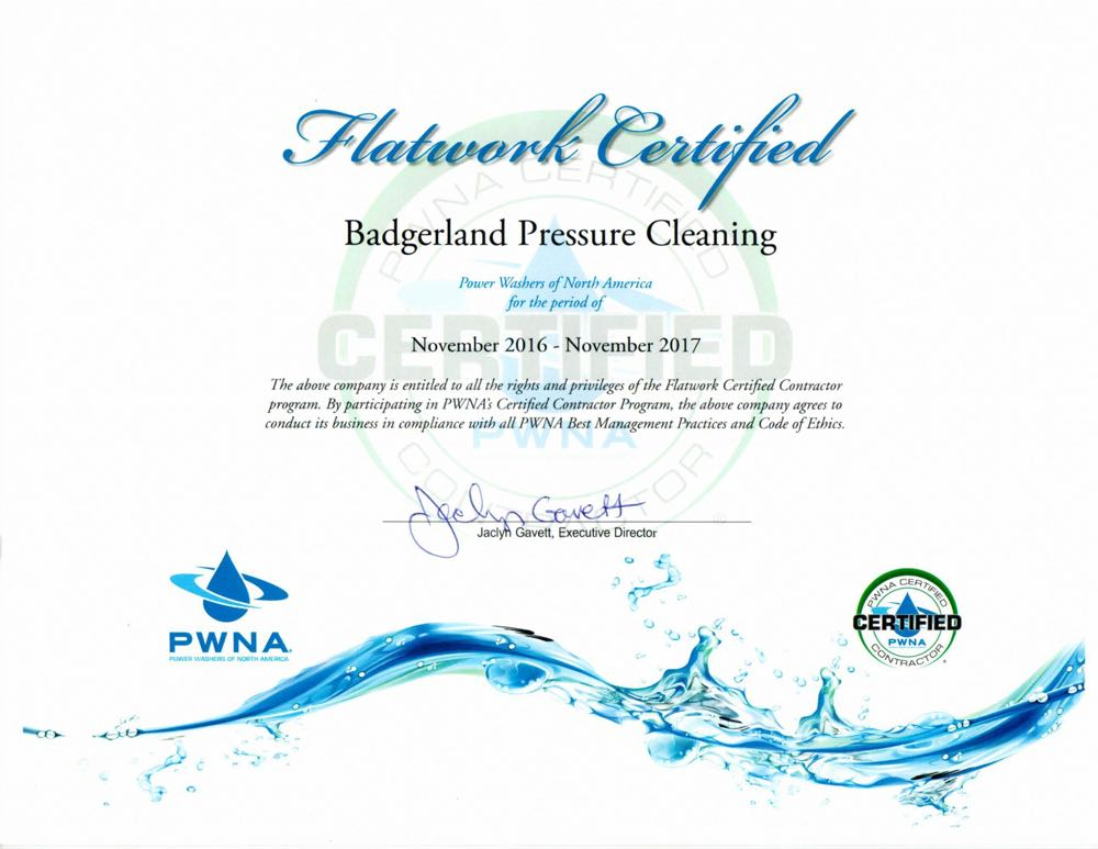 Certified for flatwork pressure washing