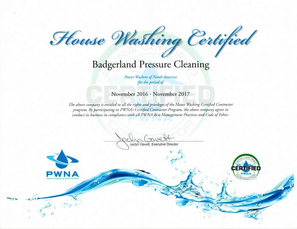Certified for house washing