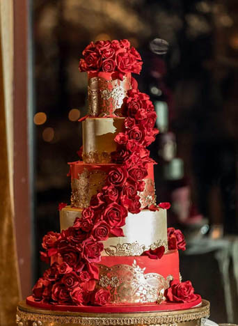 Red and Gold Wedding Cake