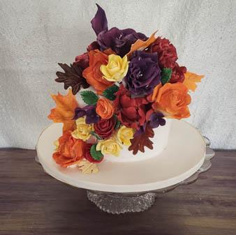 Fall Sugar Flowers Wedding Cake