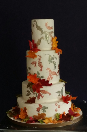 Falling Leaves Wedding Cake taken at the shop.  By My Daughter's Cakes