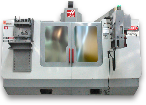 closeup of a haas cnc machine