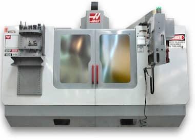 closeup of a haas cnc machine
