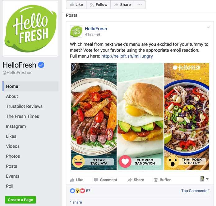 hello fresh facebook page, facebook for millennials