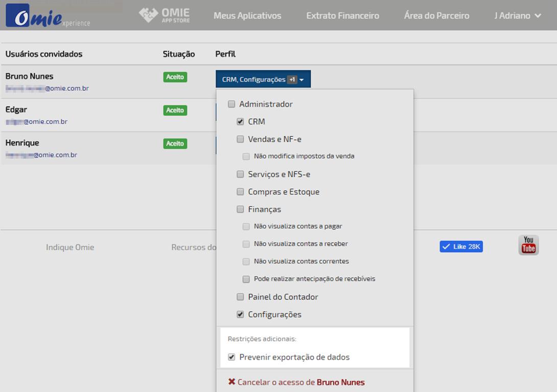 """E depois configurar o """"Perfil"""" de cada usuário ativando a restrição """"Prevenir exportação de dados"""""""