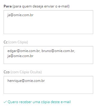 """Clique no link """"Exibir CC e CCO"""" para abrir os campos para informar os e-mails """"com Cópia"""" e """"com Cópia Oculta""""."""
