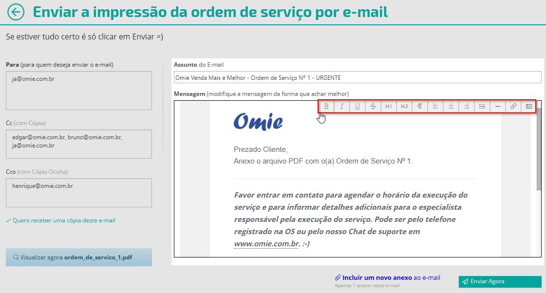 Enviar a impressão da ordem de serviço por e-mail