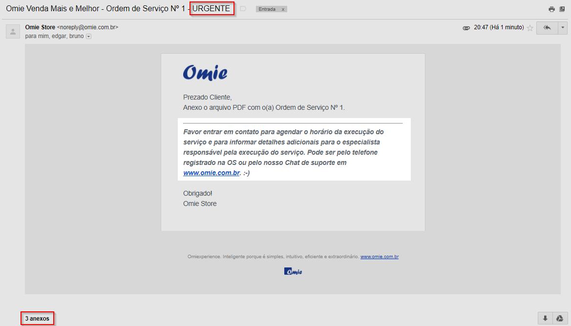 E-mail enviado com o assunto modificado, mensagem personalizada e com os anexos adicionais