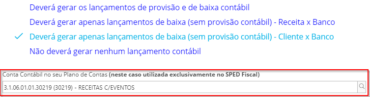 é necessário configurar as categorias do cliente com a conta contábil do plano de contas utilizada exclusivamente no SPED